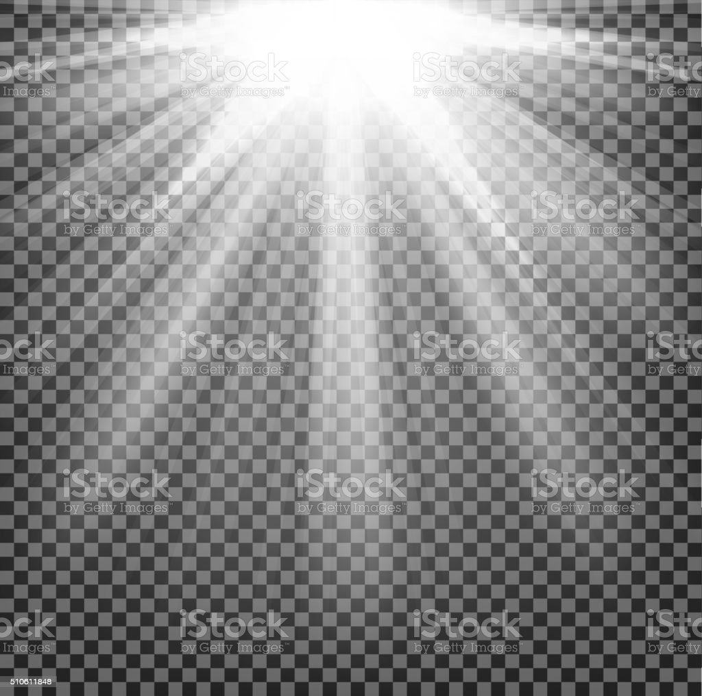 Lights shining on transparent background vector art illustration