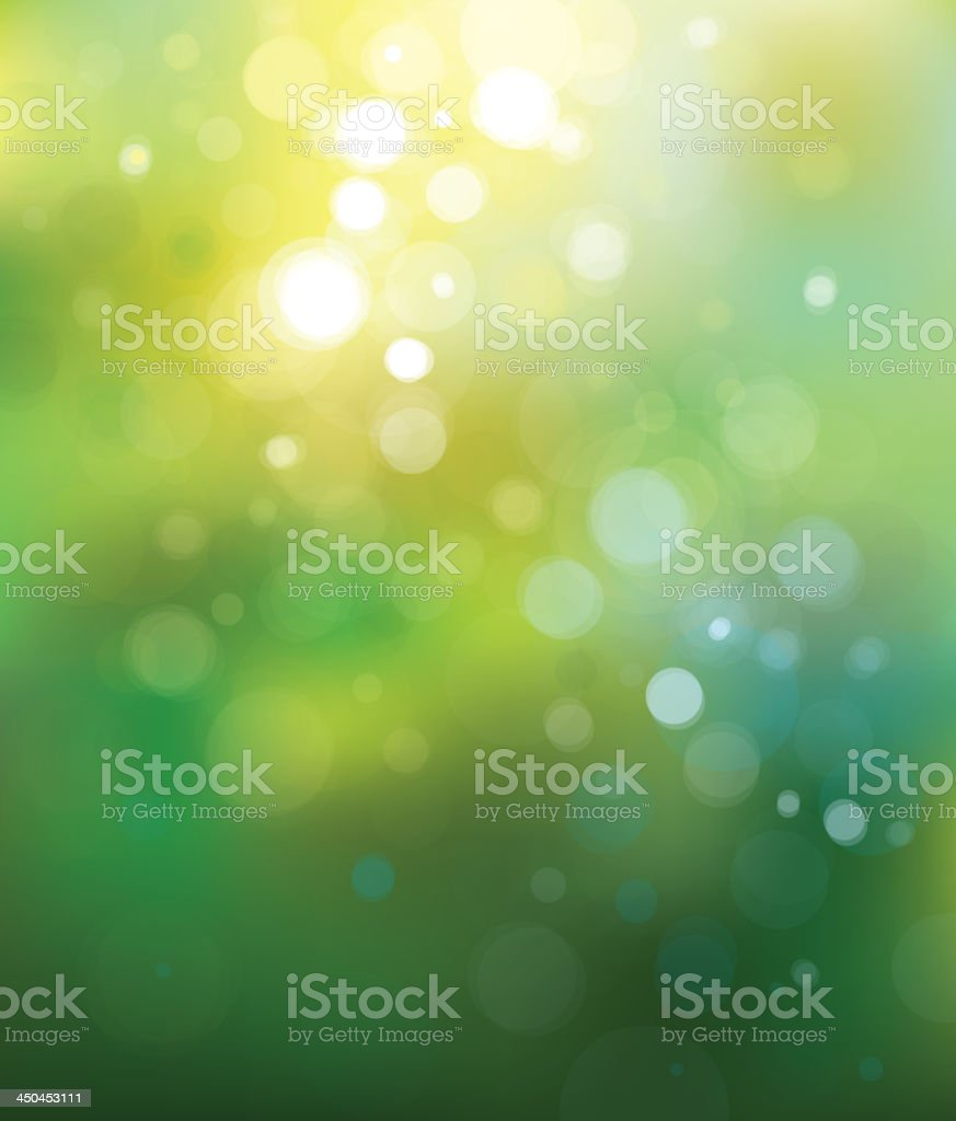 Lights shining through a green background vector art illustration