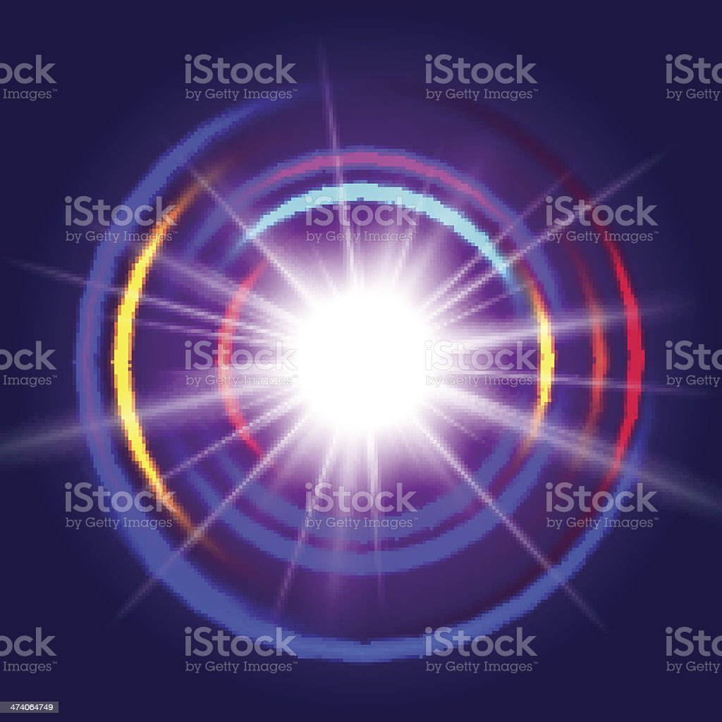 Lights with abstract lens vector art illustration