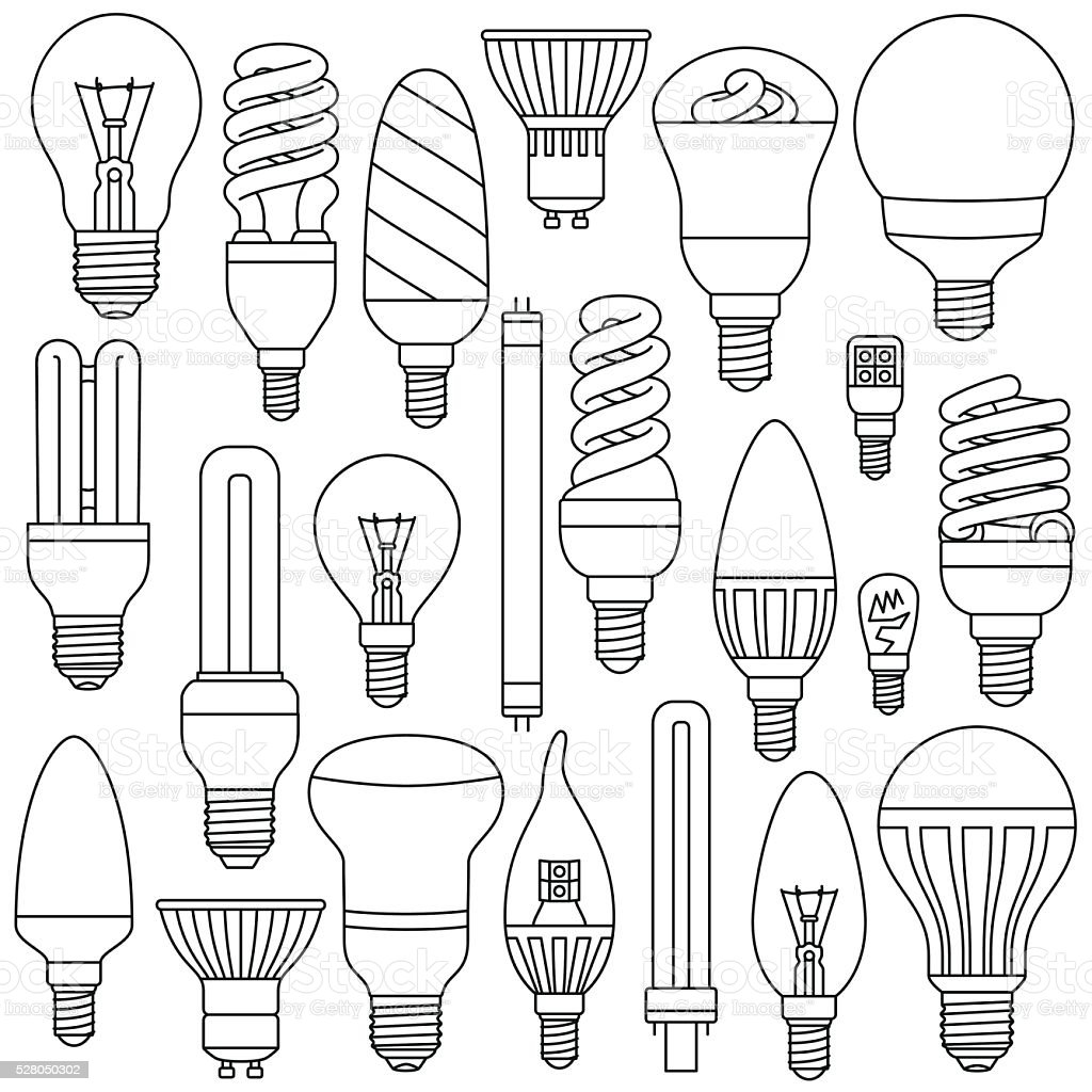 Ligth lamps set. Outlined icons isolated on the white vector art illustration