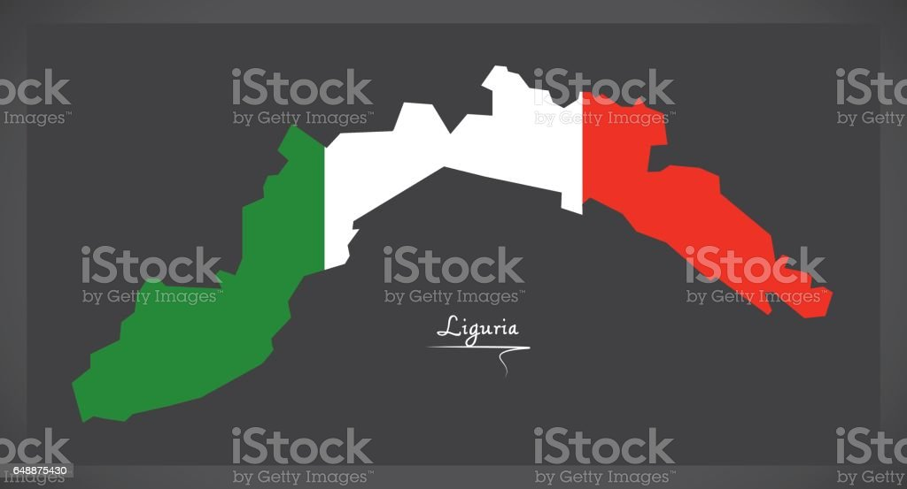 Liguria map with Italian national flag illustration vector art illustration