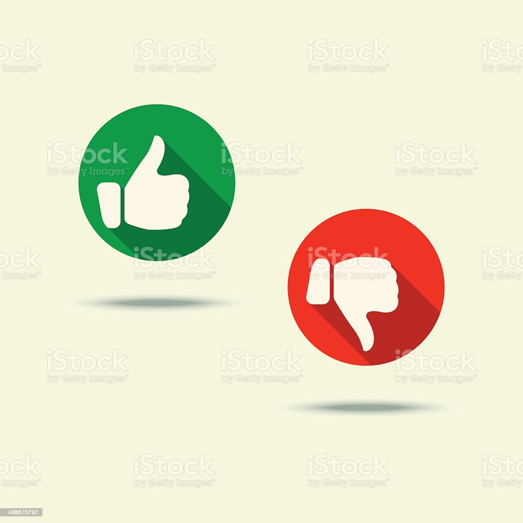 Like & Dislike buttons vector art illustration