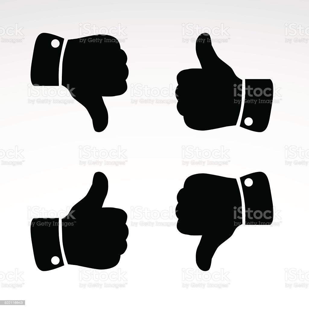 Like, dislike. Gesture icons. vector art illustration