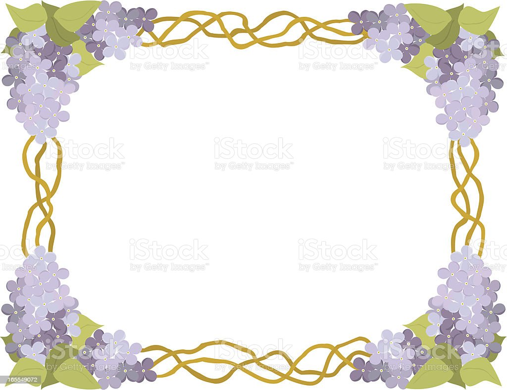 Lilac Border with Vines royalty-free stock vector art