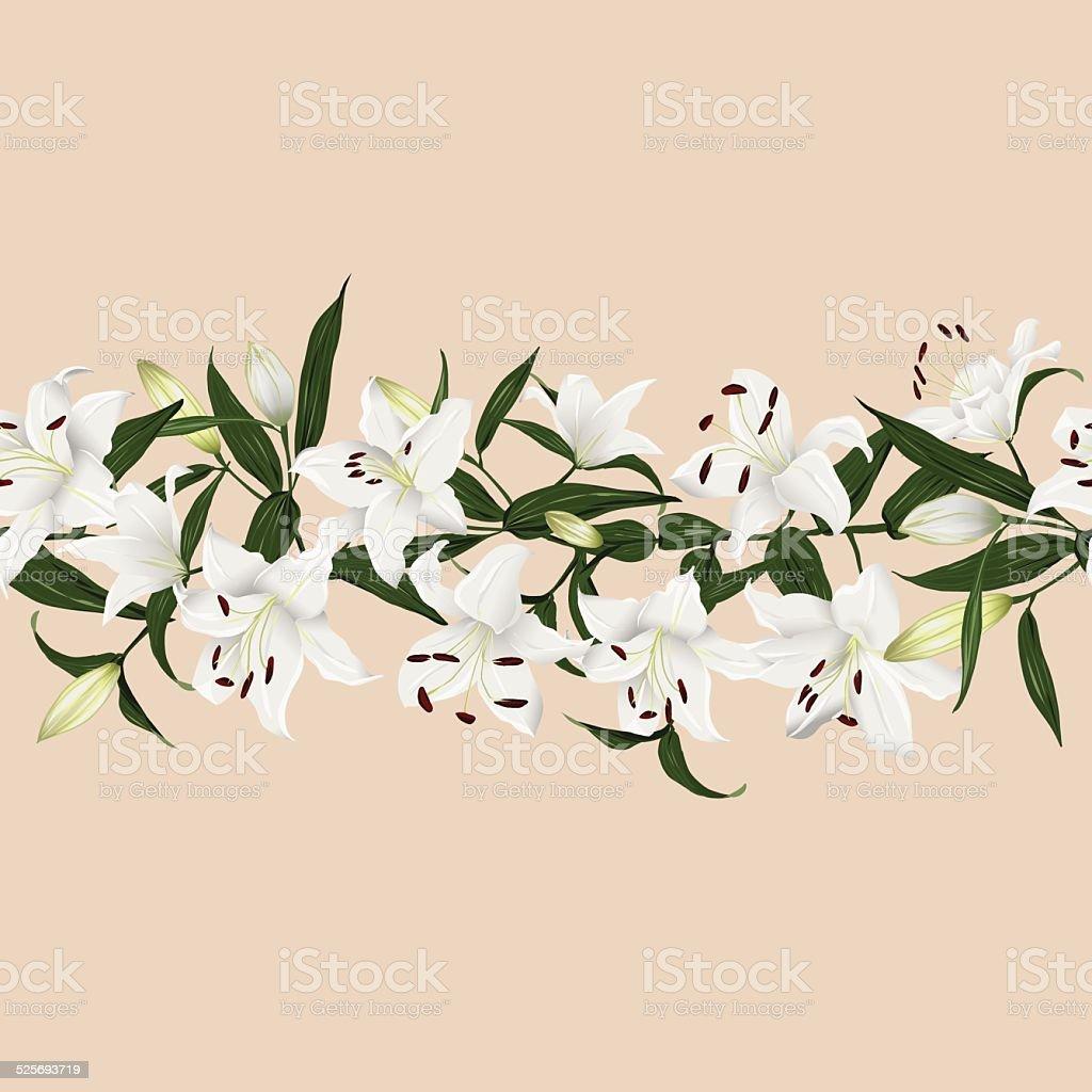 Lilies almond horizontal seamless vector banner vector art illustration