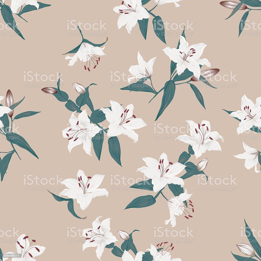 Lilies almond seamless vector background vector art illustration