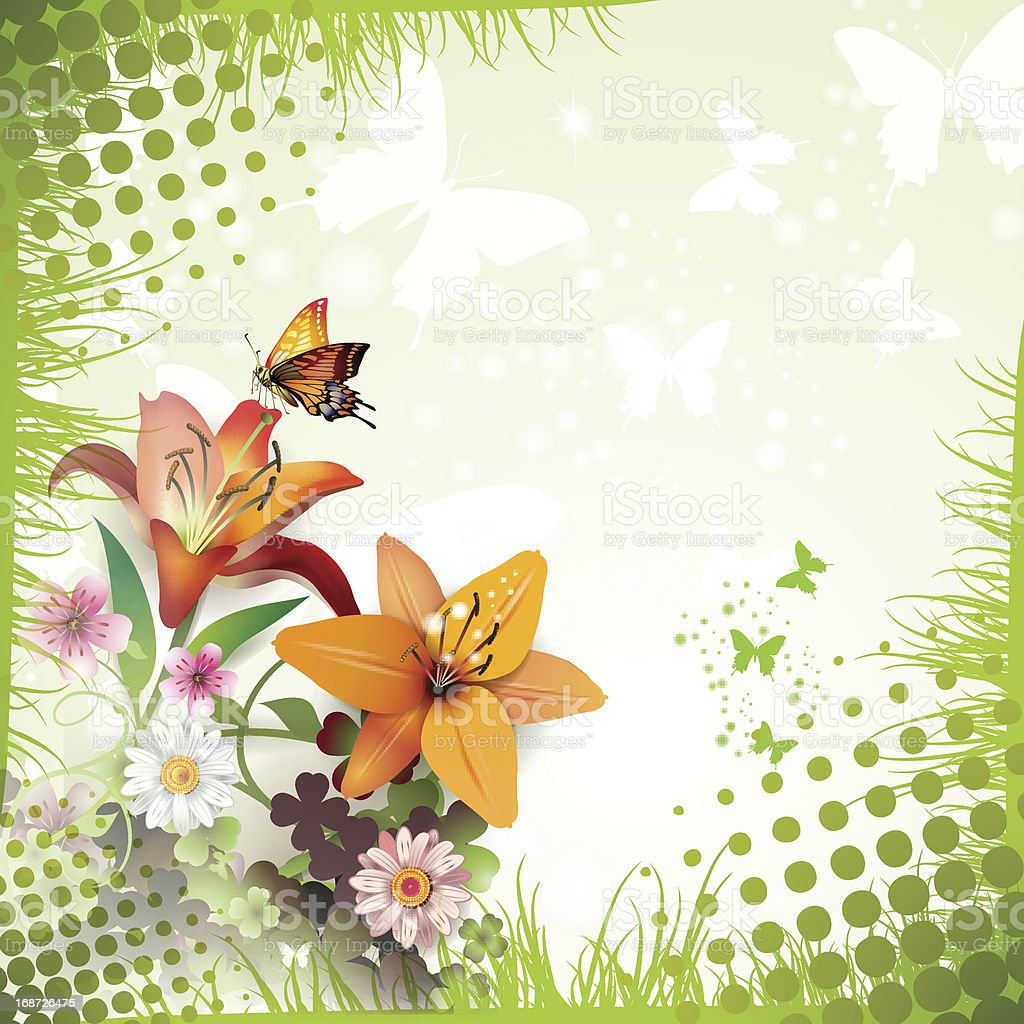 Lilies and butterflies royalty-free stock vector art