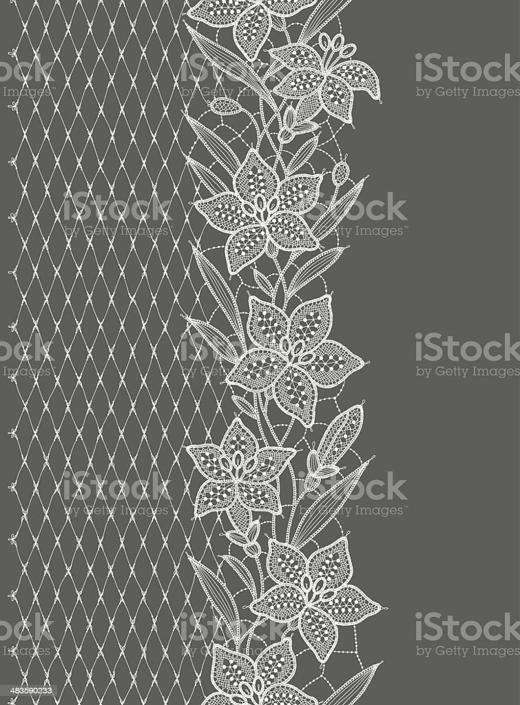 Lily Lace  Vertical Seamless vector art illustration
