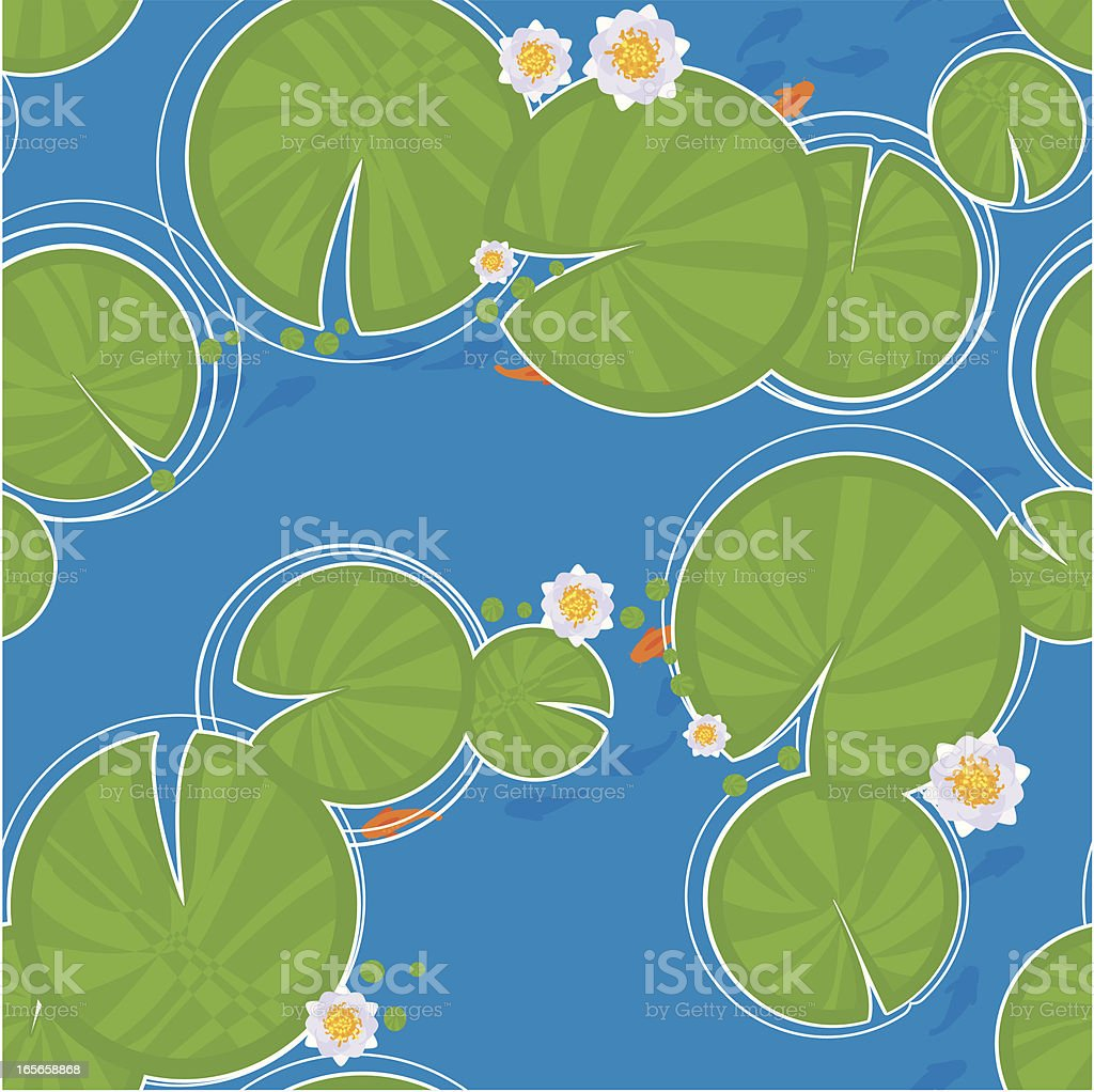 Lily pad and fish seamless pattern vector art illustration