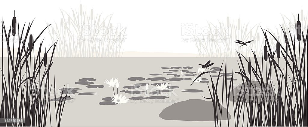 Lily Pond Vector Silhouette vector art illustration