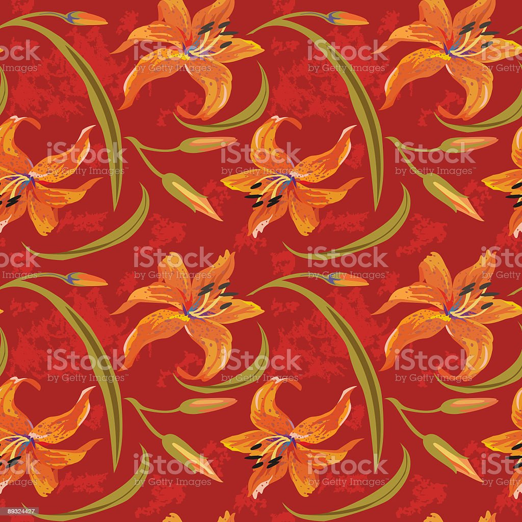 Lily Seamless Tile royalty-free stock vector art