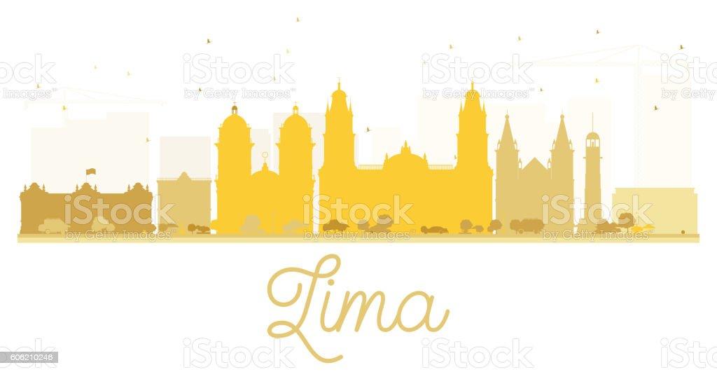 Lima City skyline golden silhouette. vector art illustration