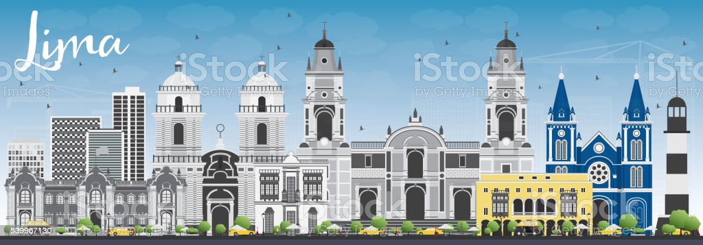 Lima Skyline with Gray Buildings and Blue Sky. vector art illustration