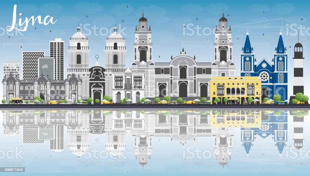 Lima Skyline with Gray Buildings, Blue Sky and Reflections. vector art illustration