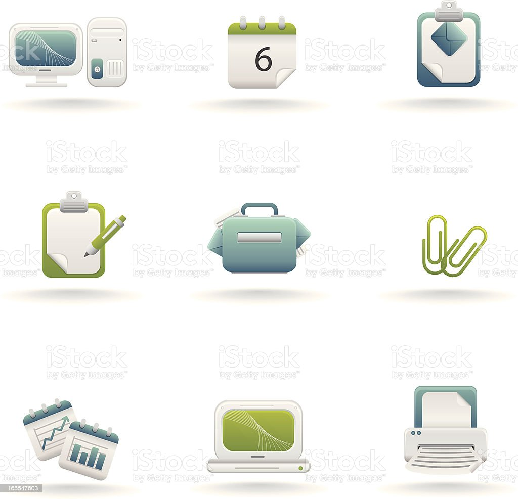 Lime and Ice: Office Icons royalty-free stock vector art