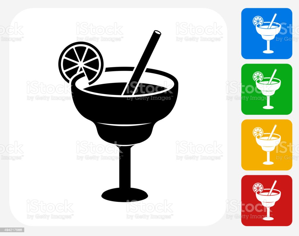 Lime Cocktail Icon Flat Graphic Design vector art illustration