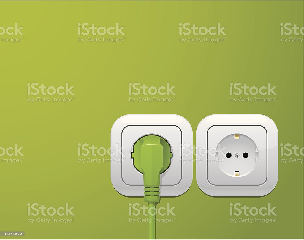 Lime green wall with a power outlet plug vector art illustration
