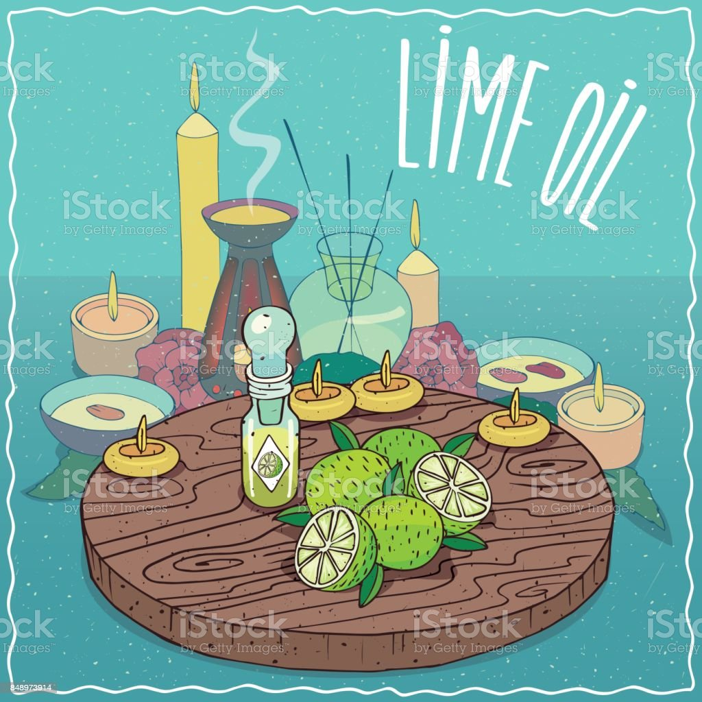 Lime oil used for aromatherapy vector art illustration