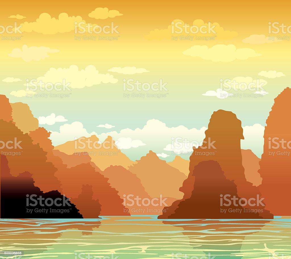 Limestone rocks and sea bay on sunset sky. vector art illustration