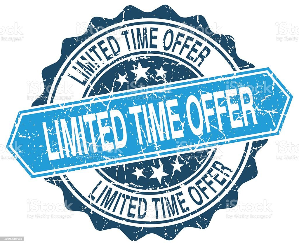 limited time offer blue round grunge stamp on white vector art illustration
