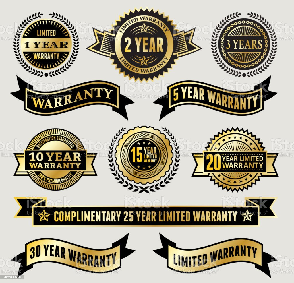 Limited Warranty Badge Collection vector art illustration