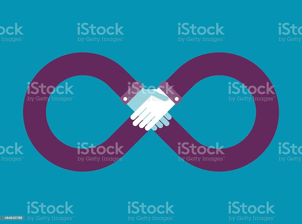 limitless sign and hand shake vector art illustration