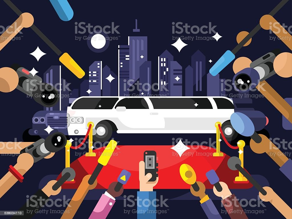Limousine and red carpet vector art illustration