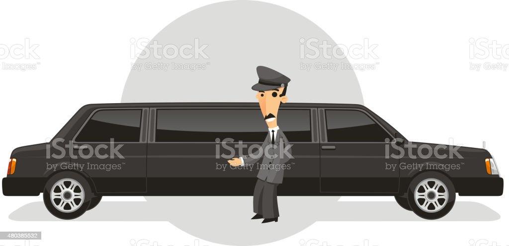Limousine Driver vector art illustration