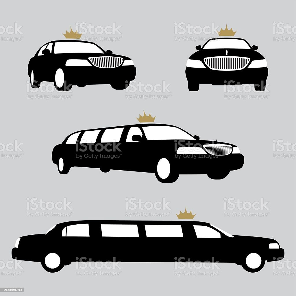 Limousines silhouettes collection. Vector vector art illustration