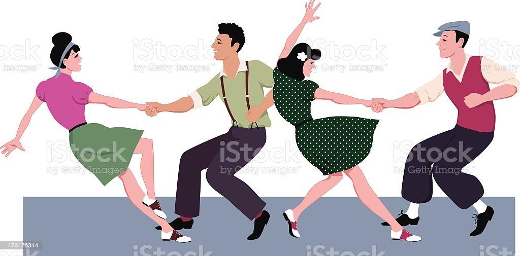 Lindy hop competition vector art illustration