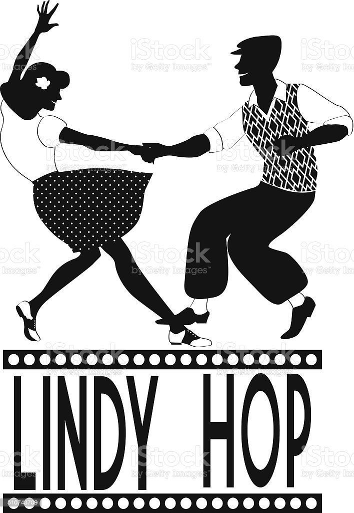 Lindy Hop dancers silhouette vector art illustration