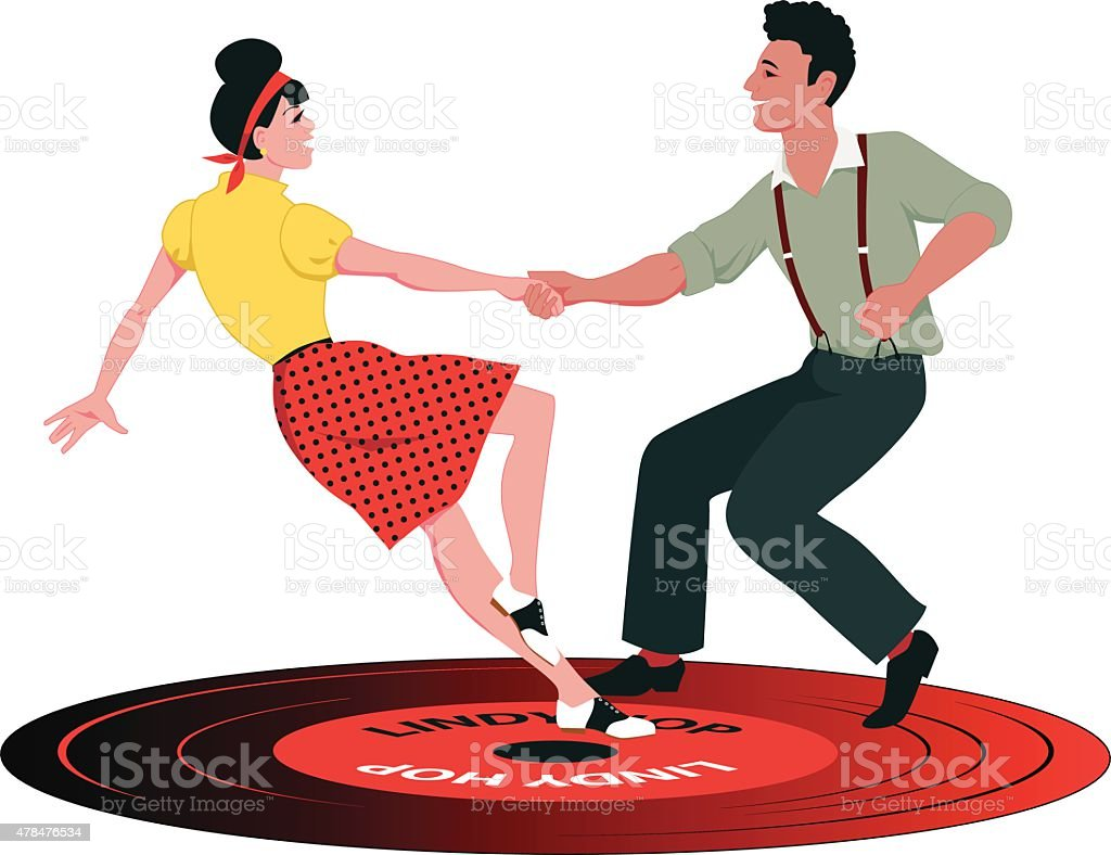 Lindy Hop on a record vector art illustration