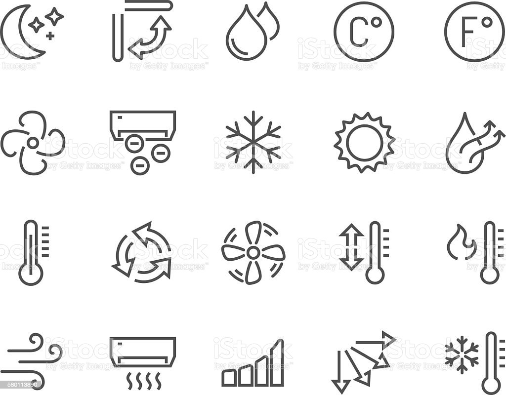 Line Air Conditioning Icons vector art illustration