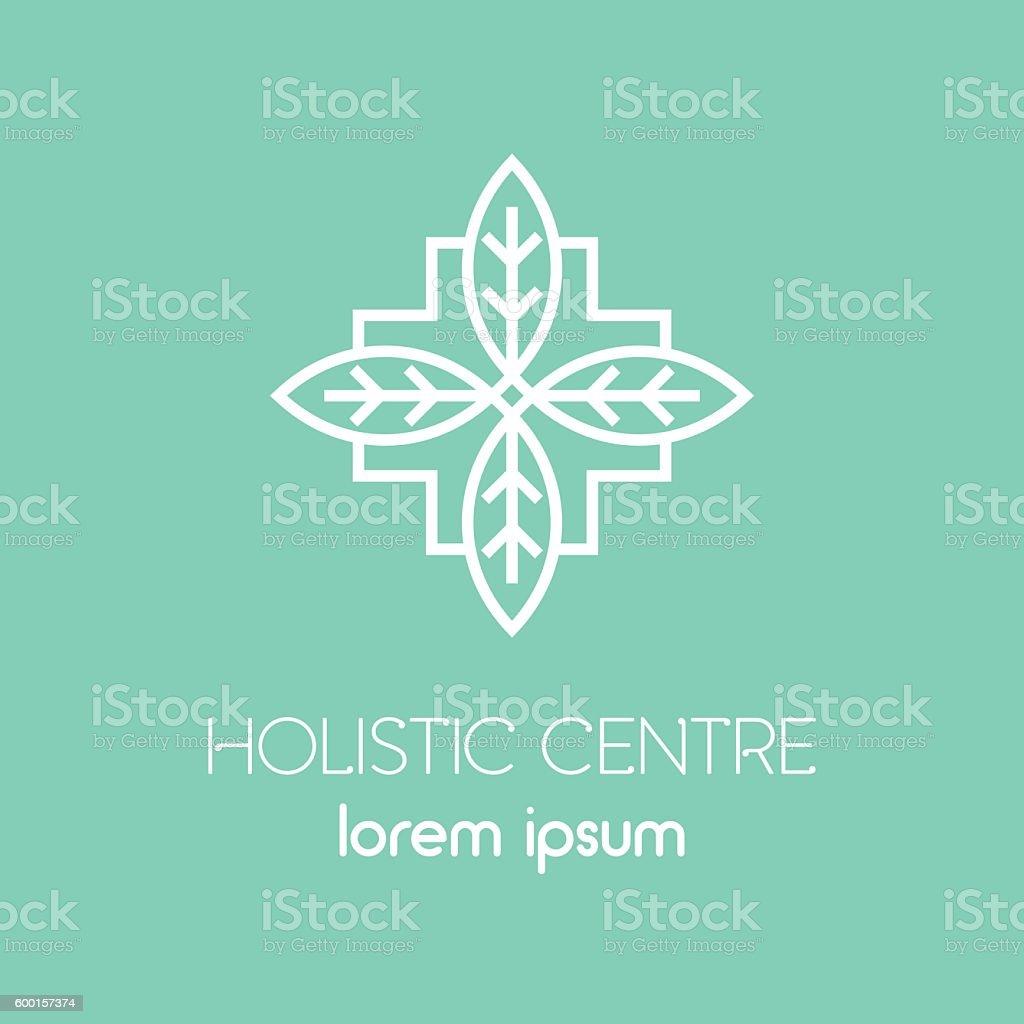 Line Alternative Medicine logo. vector art illustration