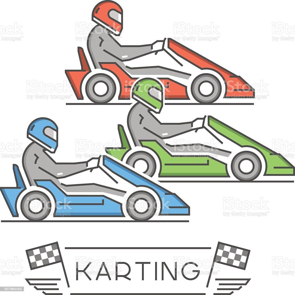 Line and flat karting logo and symbol. vector art illustration