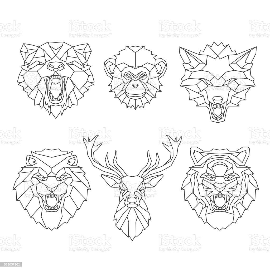 Line art animals heads vector art illustration