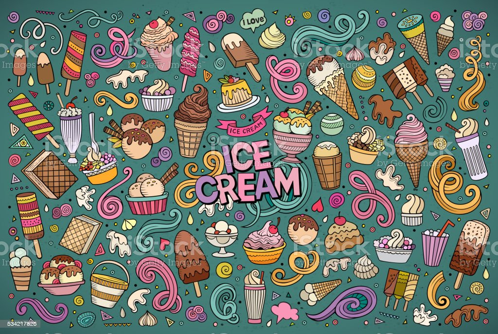 Line art cartoon set of ice-cream objects vector art illustration