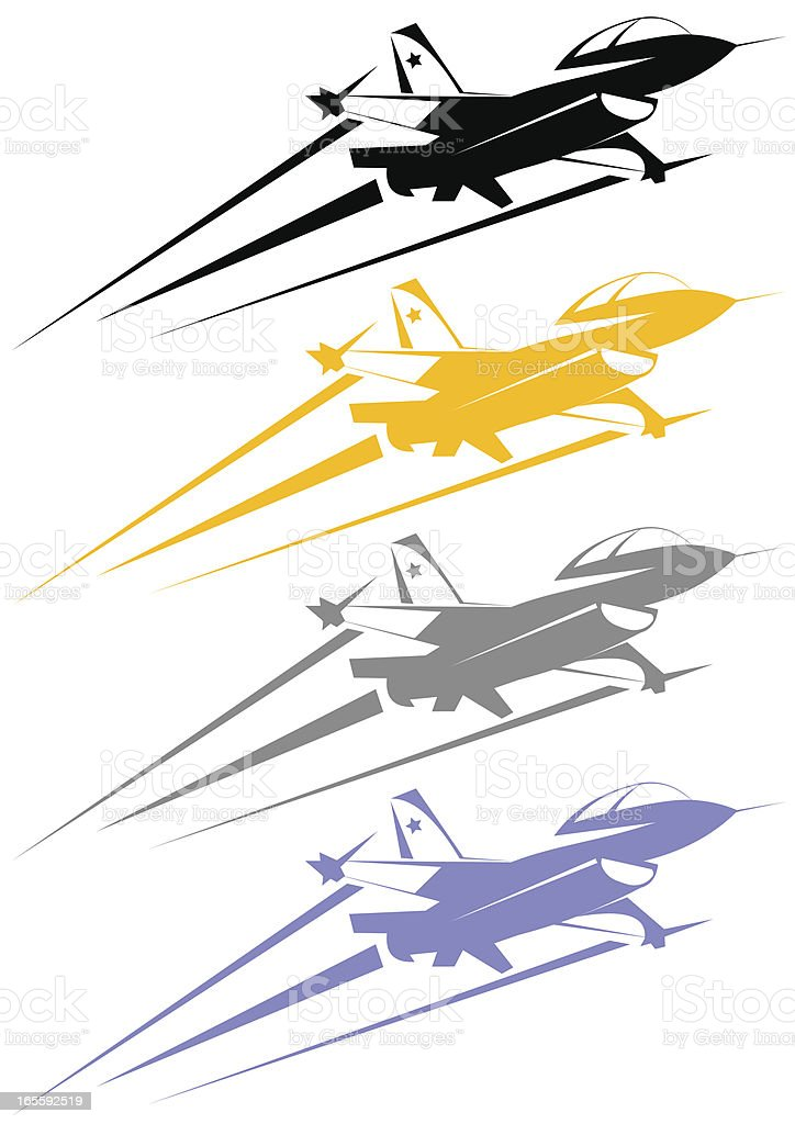 F-16 line art cartoonished royalty-free stock vector art