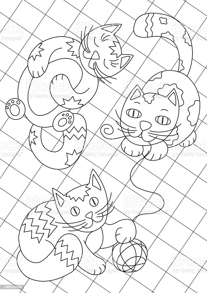 Line art cats playing on the carpet coloring book page vector art illustration