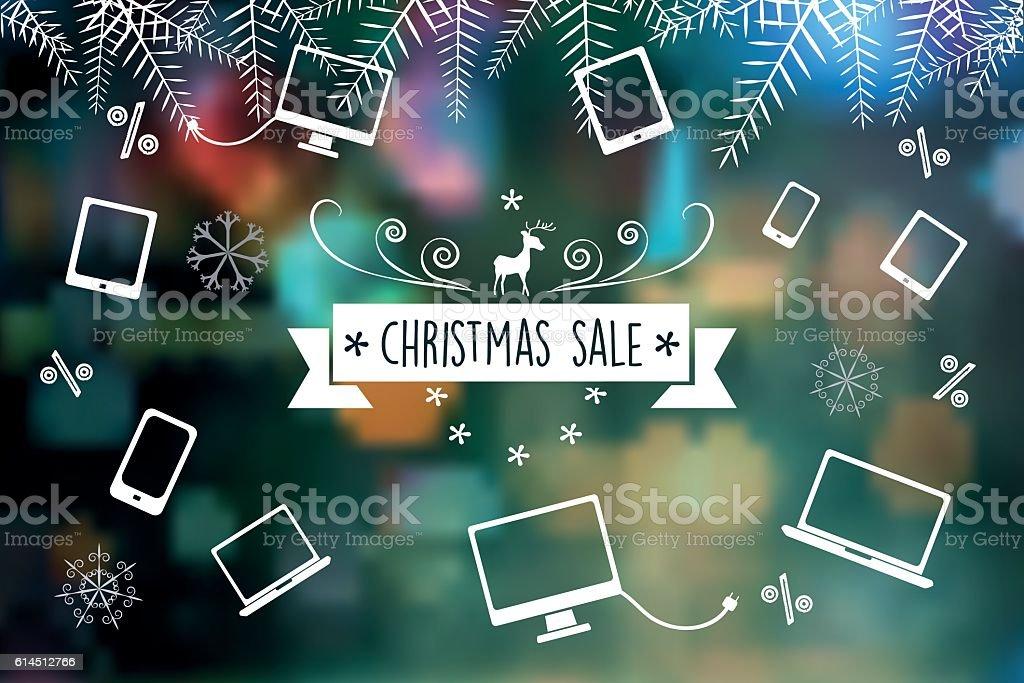 line art christmas sale icons on blurred green background vector art illustration