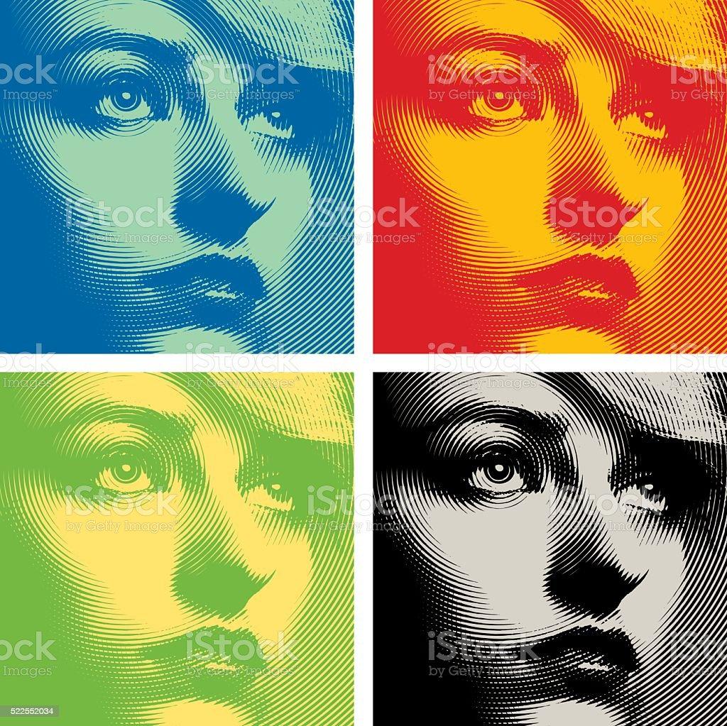 Line art Close up of a woman's face. Colorful set. vector art illustration