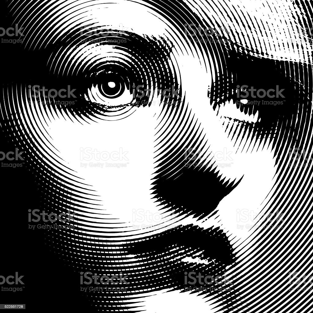 Line art Close up of a woman's face vector art illustration