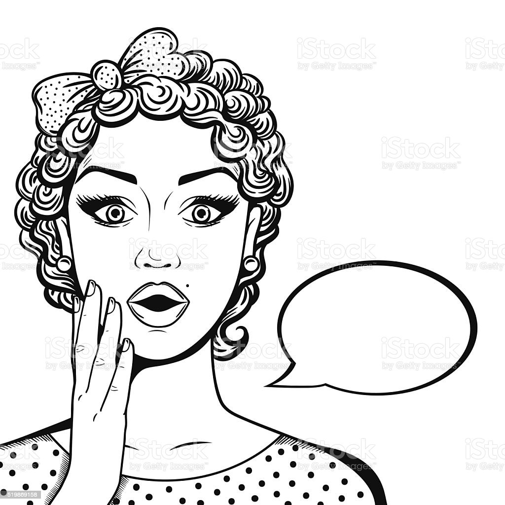 Line art amazed woman face with thought bubble in comics style. Retro...