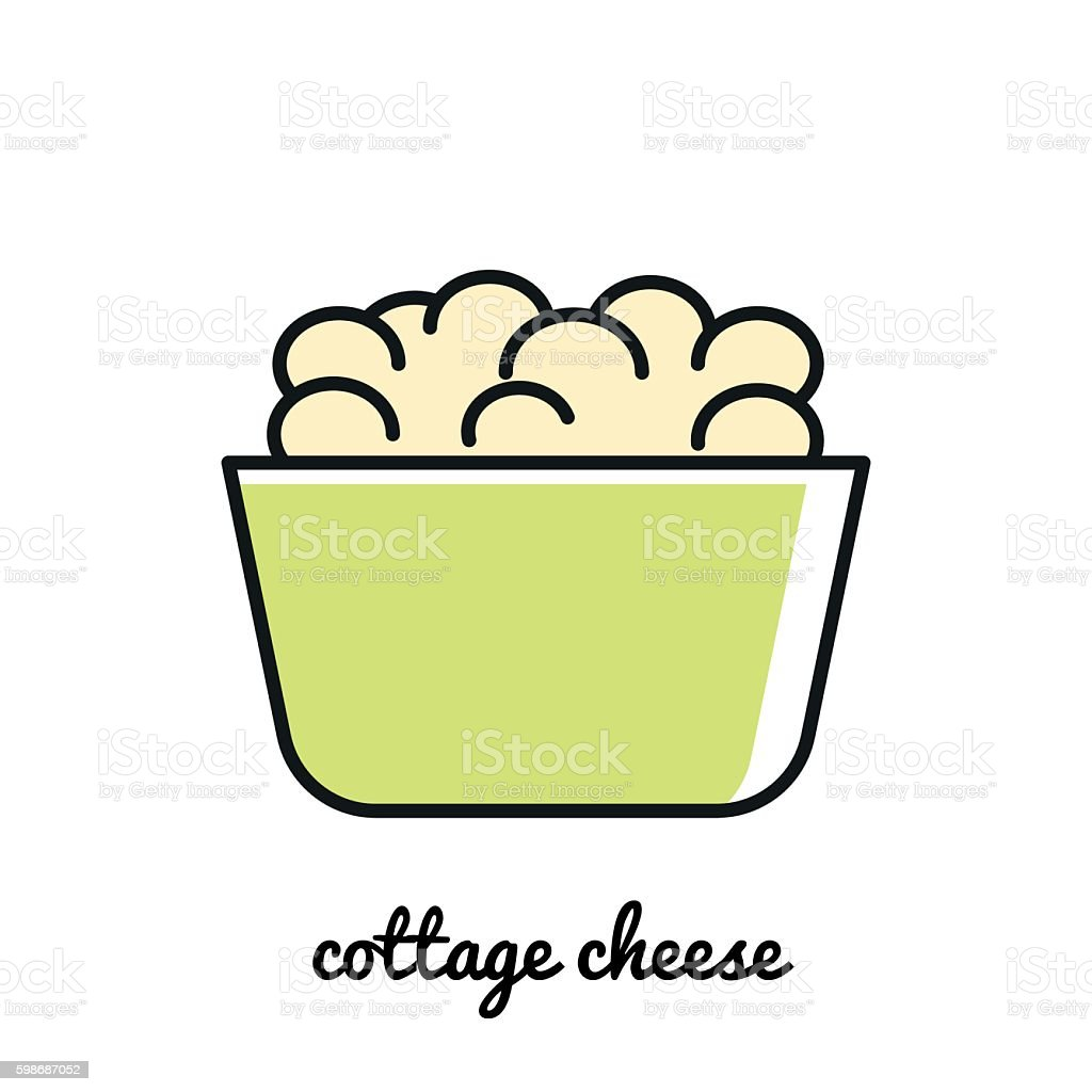 Line art Cottage cheese icon. Infographic element vector art illustration