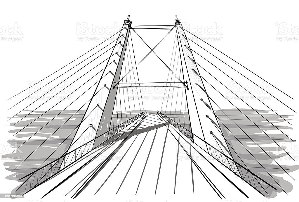 A line art drawing of architecture for a bridge royalty-free stock vector art