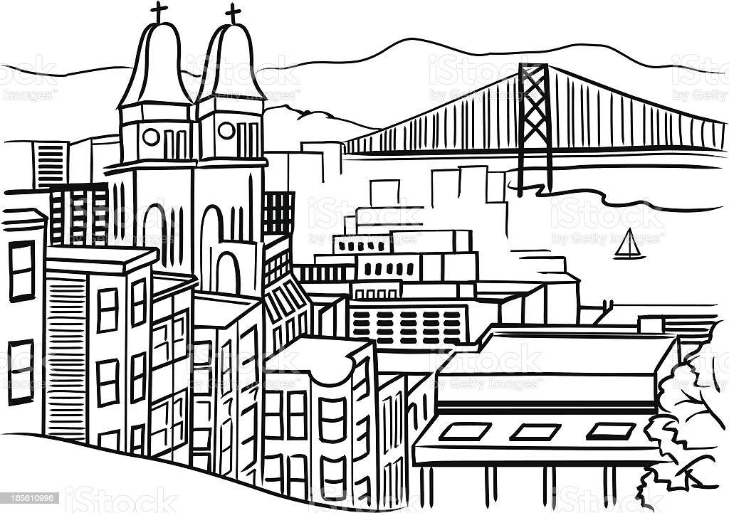 Line art drawing of San Francisco vector art illustration
