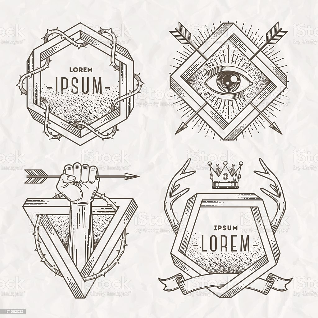Line art emblem with heraldic elements and impossible shape vector art illustration