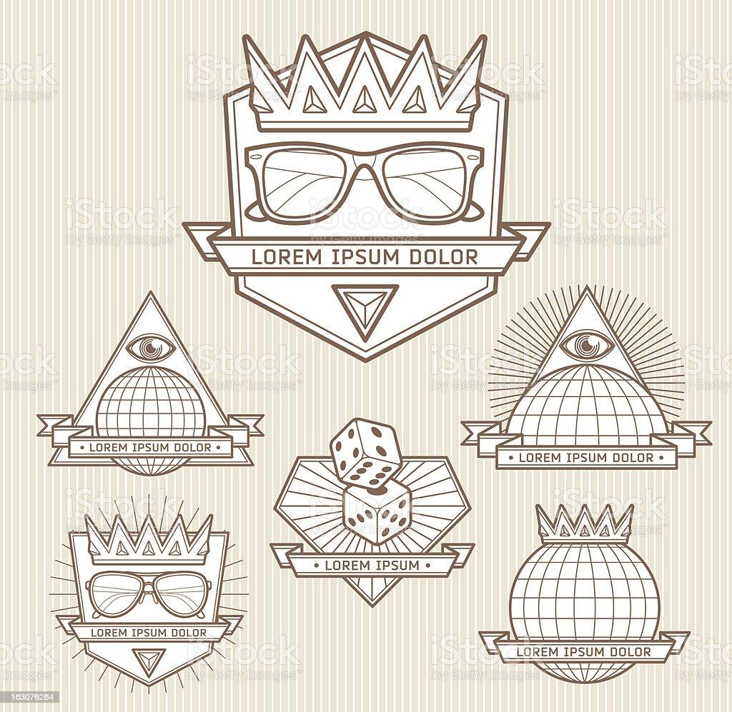 Line art emblems royalty-free stock vector art