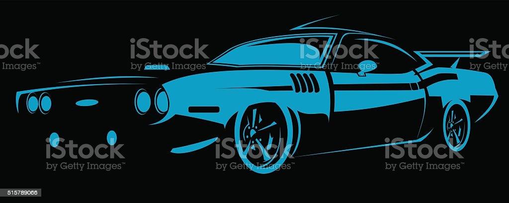 Line art hot rod vector art illustration