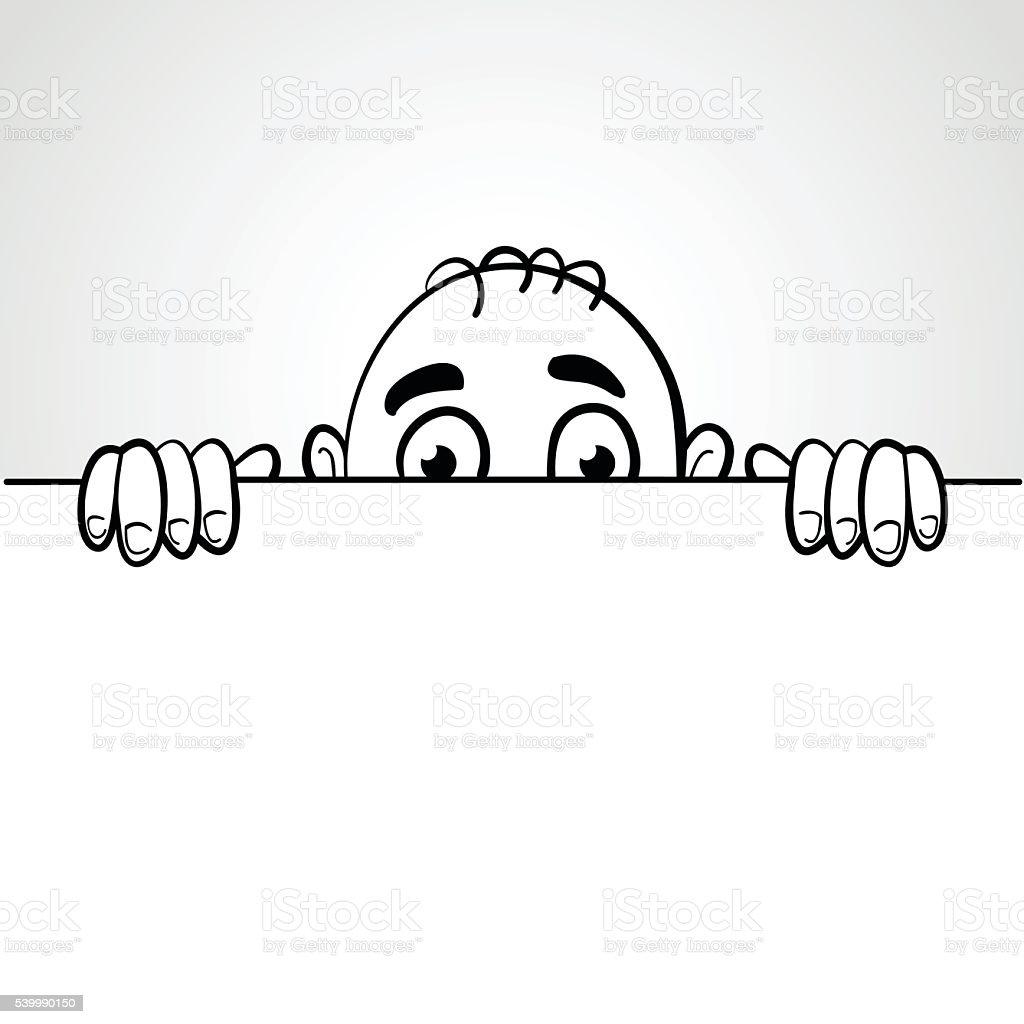 Line art illustration of a man peep vector art illustration